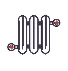 radiator of three sections with two red valves on vector image