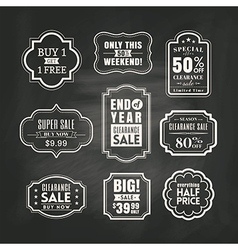 retail sale tags sign frame on chalkboard vector image vector image