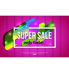 Super Sale shining banner on pink background vector image vector image