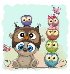 teddy bear and five owls vector image vector image