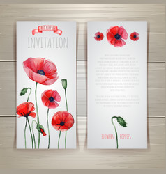 Watercolor red poppies vector image