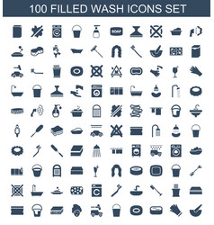100 wash icons vector