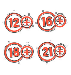 12 16 18 21 plus icon in comic style censorship vector image