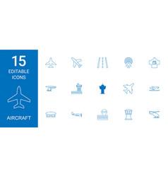 15 aircraft icons vector