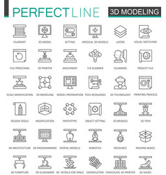 3d modeling and printing thin line web icons set vector