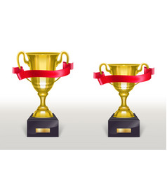 3d realistic cup pedestal with ribbon vector