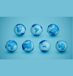 7 different agles earth for 7 continents vector