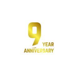 9 year anniversary logo template design vector