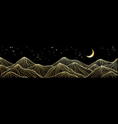 Abstract art mountain black and golden line-art vector
