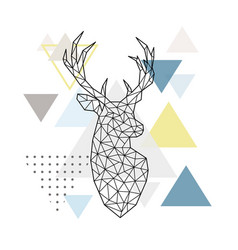 abstract geometric silhouette a deer on simple vector image
