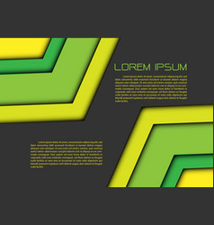 abstract green yellow double arrow on gray vector image