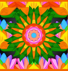 Abstract mandala on a orange green and yellow vector