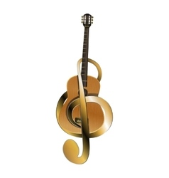 acoustic guitar belted treble clef vector image