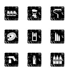 Art icons set grunge style vector
