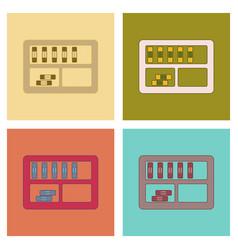 assembly flat icons folder shelf vector image