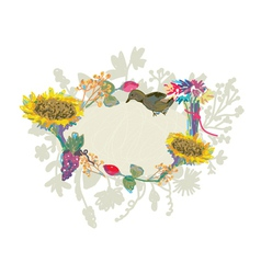 Autumn hand-drawn frame with flowers vector image