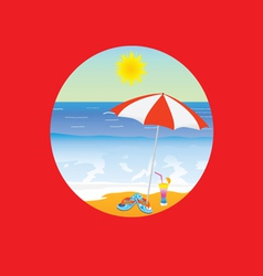 Beach paradise cartoon on a red vector