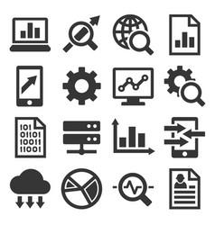 big data analysis icons set vector image