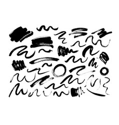 black dry brushstrokes hand drawn set vector image