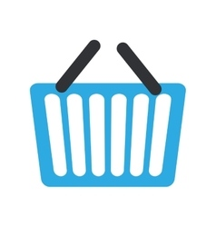 Blue basket shopping online e-commerce vector
