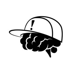 Brain wearing cap with exclamation tag vector