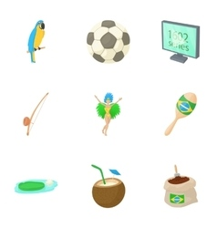 Brazil icons set cartoon style vector