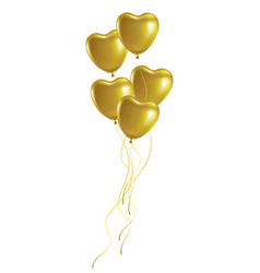 bunch of golden heart-shaped festive balloons vector image