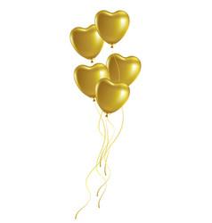 bunch of golden heart-shaped festive balloons vector image