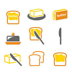 Butter or margarine spread on bread icons s vector