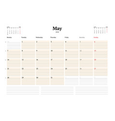 Calendar planner template for 2018 year vector