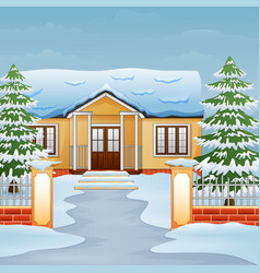 Cartoon of winter day landscape with house and sno vector