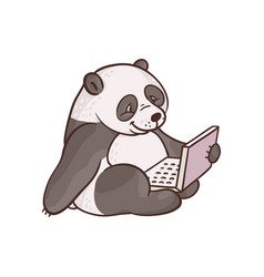 cartoon panda sitting with laptop ta knees vector image