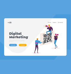 Cashless society landing page template tiny vector