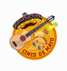 cinco de mayo round banner fiesta party vector image