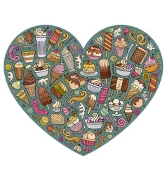 Colorful set of Ice cream cartoon doodle vector
