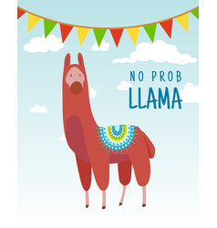 cool cartoon doodle alpaca lettering quote with no vector image