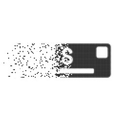 Credit card disintegrating pixel icon vector