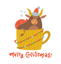 cute bull in yellow cup print for holiday fabric vector image