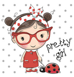 cute cartoon girl with glasses vector image
