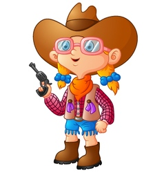 Cute girl dressed in a cowboy suit vector