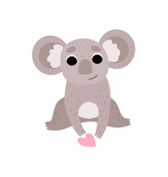 cute koala bear sitting with pink heart funny vector image