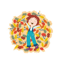 cute smiling kid with autumn colorful tree leaves vector image