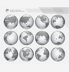dotted digital earth globes set vector image