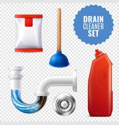 Drain cleaner transparent icon set vector
