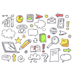 Drawn office theme icons set vector