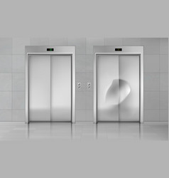 Elevator doors close lift new and damaged cabin vector