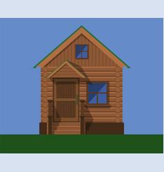 facade of a wooden country house vector image