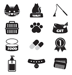 Flat Design Cat Black Icon Set vector image