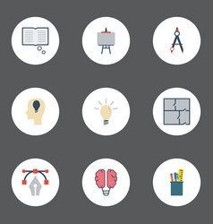 flat icons scheme case compass and other vector image