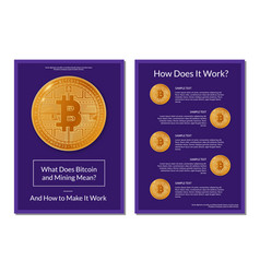 Flyer design about bitcoin info vector